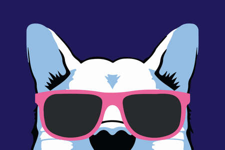 Nice isolated dog in cool pink glasses Ilustrace