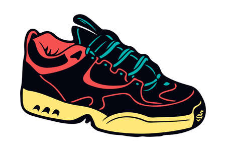 Creative colorful illustration of sneakers running on isolated white background Ilustração