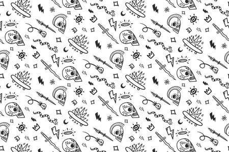 vector old school tattoos pattern on white background Banco de Imagens - 126897802