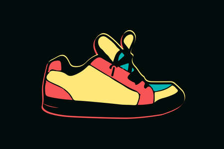 colorful neon shoe on dark background vector illustration