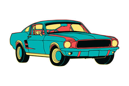 Hand Drawn colourful isolated muscle car in cartoon style with creative design colours.