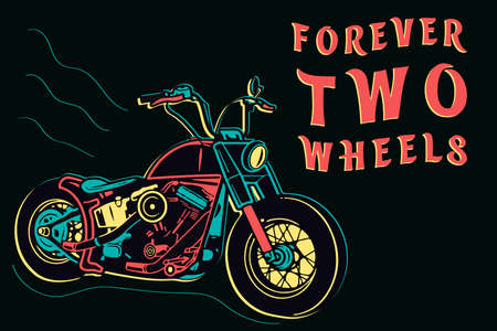 Isolated colorful retro motorcycle design in neon style on dark background, forever two wheels vector illustration Reklamní fotografie