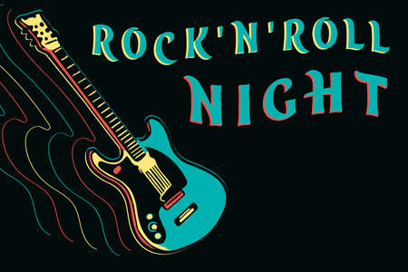 Rock and roll night design with neon guitar, vector illustration on dark background Banco de Imagens - 123990826
