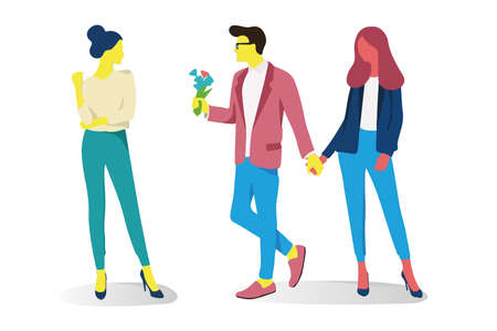 Couple relationships loving man and woman. Walk, a declaration of love and hugs. Vector illustration in a flat style on isolated white background Stock Photo