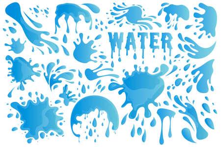 Blue Water Drop or Splash Set Decor Element Include of Droplet, Splashing, Raindrop and Tear. Vector illustration EPS10 Banco de Imagens
