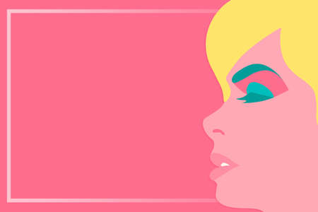 Beautiful woman face on pink background in pop art style with frame for text vector illustration concept