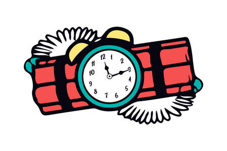 Cartoon dangerous ignited red dynamite with old clock timer. The symbol of the destruction and terror. Vector Illustration EPS10 on white background.