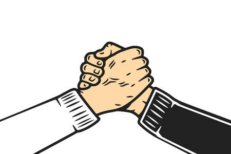 Soul brother handshake, thumb clasp handshake or homie handshake, cartoon style on isolated white background Banco de Imagens - 123990848