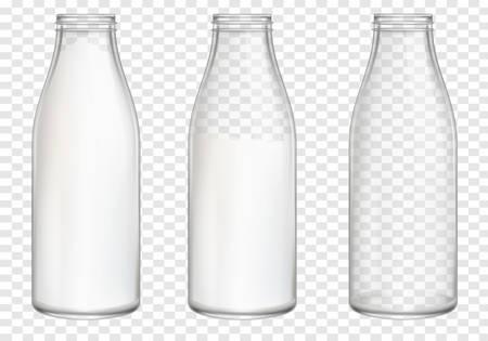 Realistic Milk Bottles Vector Art on transparent background
