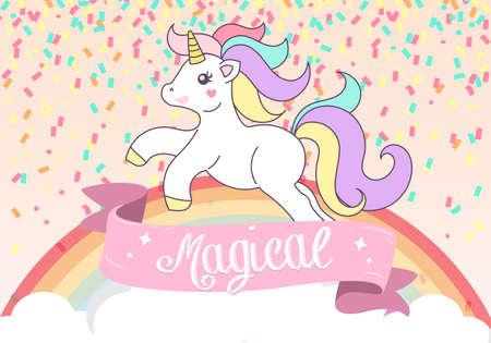 Concept of Unicorn Magical Birthday Card Vector Illustration Banco de Imagens - 126857071