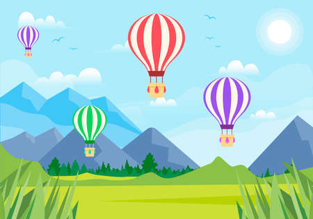 Hot Balloons Cute Landscape with mountains vector Ilustrace