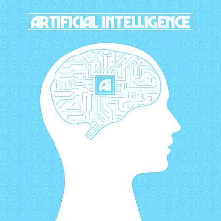 Artificial Intelligence Brain CPU Vector Illustration on blure background