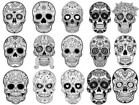 Sugar skulls Set Vector Illustration in black and white style Ilustrace