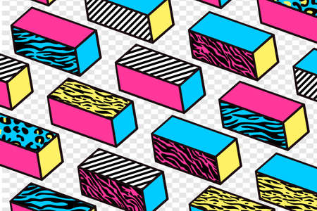 Concept of Trendy Memphis Isometric Pattern Vector