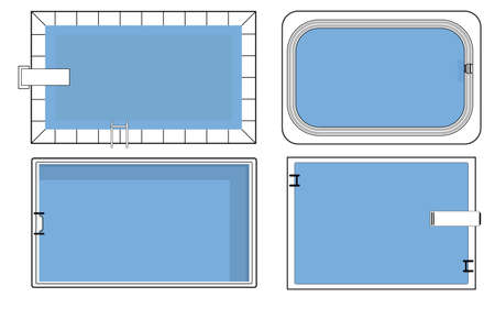 Set of swimming pool plans in top view vector illustration