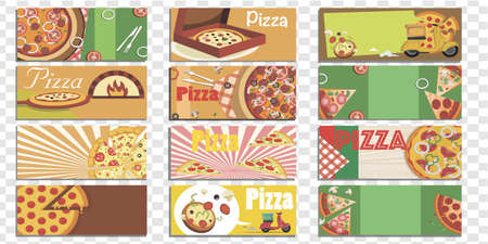 Set of Isolated Pizza Backgrounds vector illustration Banco de Imagens - 126857092