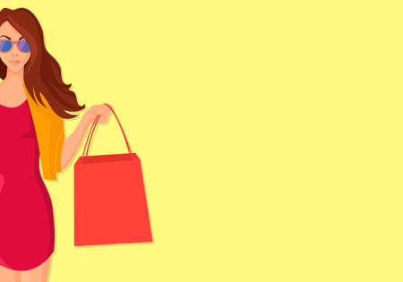 Concept of Hand Drawn Shopping woman with Bags Banco de Imagens - 126857093