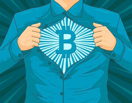 Concept of Male blockchain BTC hero vector illustration
