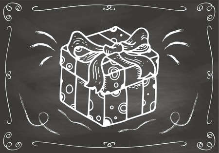 Concept Hand Drawn Gift on Chalkboard Vector