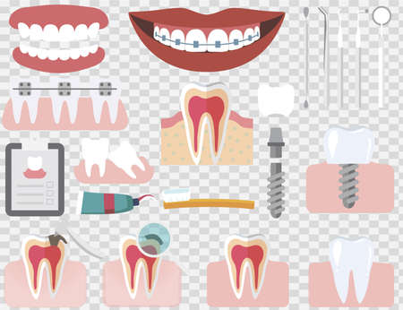 Set of isolated dental care vector elements