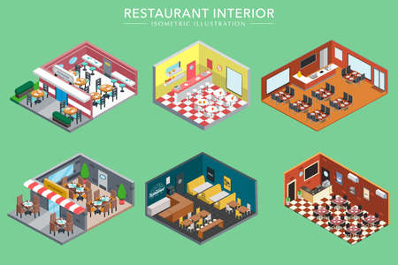 Concept of Isometric 3d Restaurant Interiors Vector Illustration
