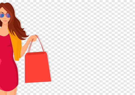 Concept of Hand Drawn Shopping woman with Bags