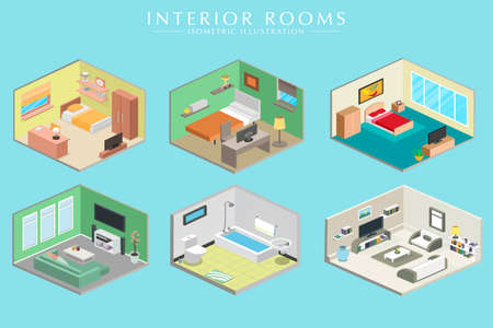 Concept of Different room Interiors Vector Isometric set