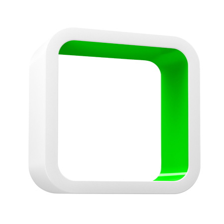 Modular 3D rendered shelves for product placement. Square white element with green inner space, on white background Stock Photo