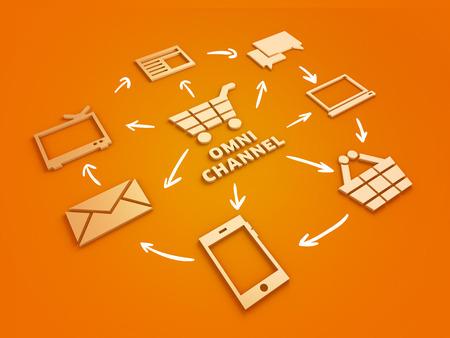 オムニ チャネルのマーケティング戦略のオンライン 3 D 図をショッピングします。オレンジ色の背景。 写真素材