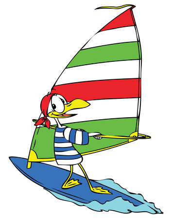 wind surfing: Cartoon seagull wind surfing happily on the sea.  Illustration