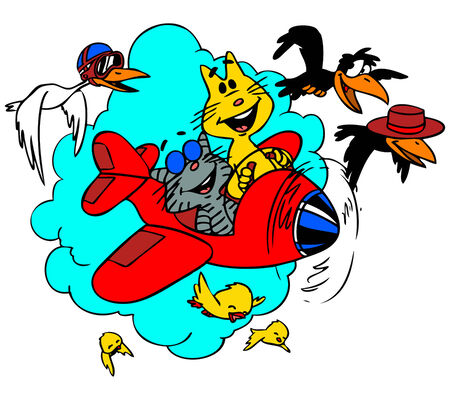 Cartoon cats flying on an aeroplane in the sky.   Ilustrace