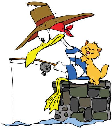 gaviota: Gaviota de dibujos animados y un Gato ido la pesca.