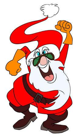 Mad Santa Claus dancing like crazy. Stock Vector - 4268646