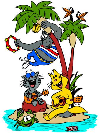 tambourine: Caricatura gatos, gorilas, cuervo, pescado y cangrejo cantando y bailando en una isla. Vectores
