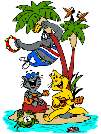 Cartoon cats, gorilla, crow, fish and crab singing and dancing on an island.
