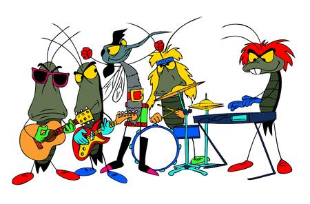 A cartoon rock group of bugs making music.