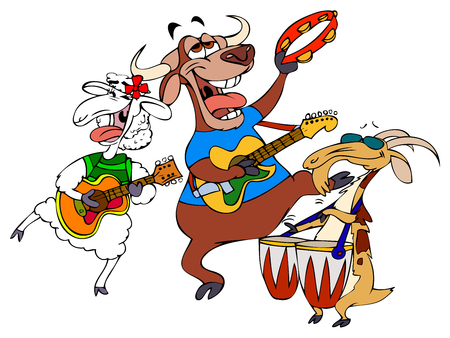 Cartoon Music Band - Hornies Vetores