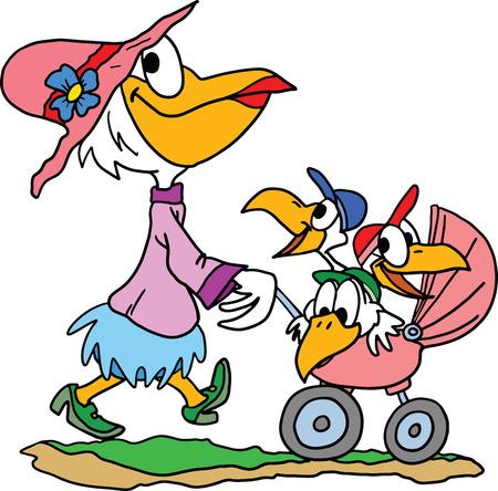 Kreskówka pelikan matka biorąc jej trojaczki na spacer w ilustracji wektorowych parku