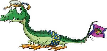 Cartoon alligator goes to snorkeling vector illustration