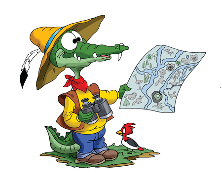 Cartoon adventurer alligator looking his map to find his route