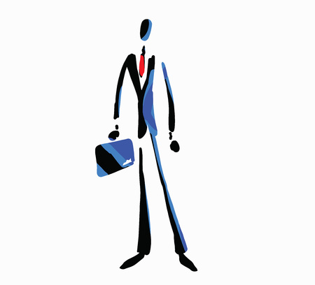 Vector illustration of a confident businessman carrying a briefcase