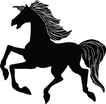 Illustration vectorielle d'une silhouette de cheval au galop