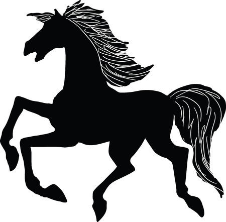 Vector illustration of a galloping horse silhouette Vettoriali