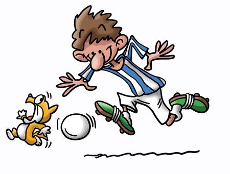 Cartoon cat and man playing football vector illustration Иллюстрация