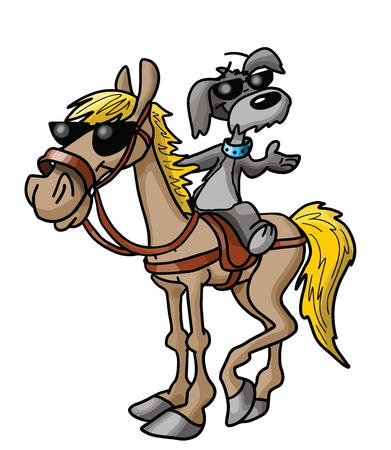 Friendship between a cartoon horse and a dog vector illustration Illustration