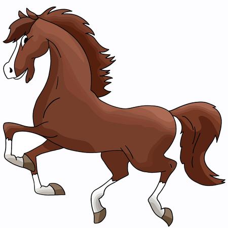 Hermoso caballo marrón de dibujos animados galopando libremente ilustración vectorial