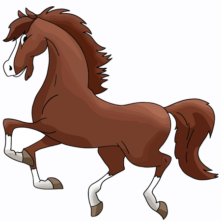 Beautiful cartoon brown horse galloping freely vector illustration