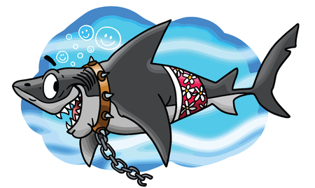 Cartoon great white shark brakes free from his chains vector illustration Ilustrace