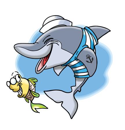 Cartoon marine dolphin and his cute little fish friend