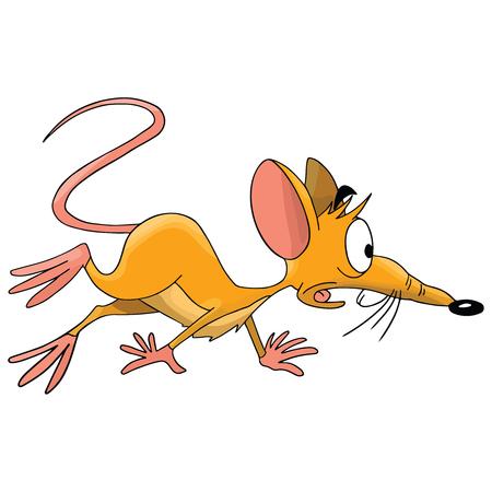 Scared cartoon mouse prepared to escape vector illustration Illustration